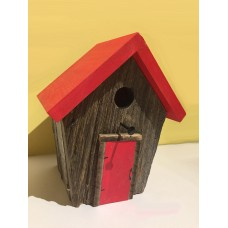 Barn Wood Nesting Box - Red Roof