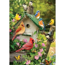 Puzzle 35 pieces - Birds around the Birdhouse
