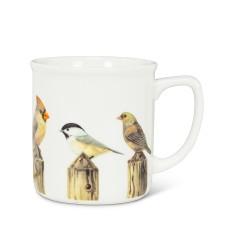 Tasse blanche avec oiseaux sur poteaux