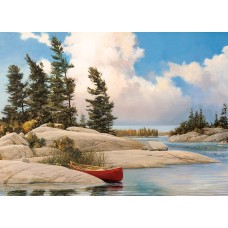 Casse-tête 500 morceaux - pins et canoe