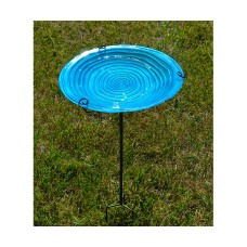 Blue Swirls Staked Glass Bird Bath