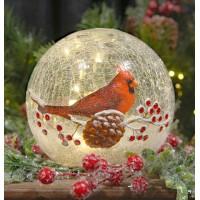 Crackle Glass Globe - Cardinal